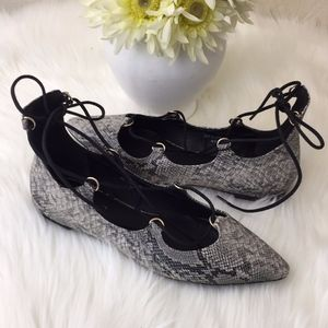 TopShop snake print lace top flats